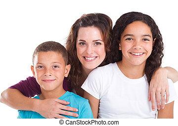 madre, y, niños