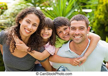 madre y padre, dar, niños, un