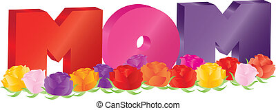 madres, alfabeto, ilustración, rosas, mamá, día