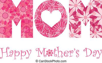 madres, alfabeto, mamá, flores, día, feliz