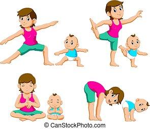 madres, joven, bebes, yoga, ejercicios, colección, su