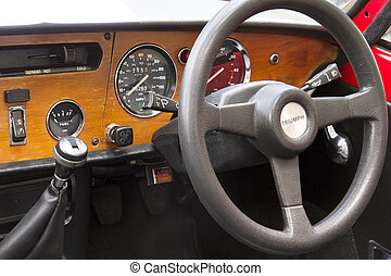 "Madrid 3 Jul ""Party old Classic car"" Triumph speedfire 1500"