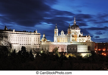 madrid, almudena, catedral, y, palacio real, -, españa