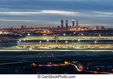 Madrid-Barajas Airport during night