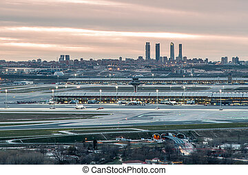 Madrid-Barajas Airport during sunset