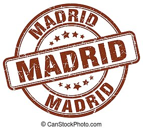 Madrid brown grunge round vintage rubber stamp