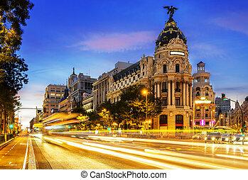 Madrid city center, Gran Vis Spain - Rays of traffic lights...