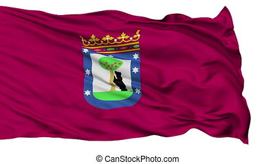 Madrid City Isolated Waving Flag