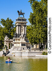 Madrid city, Spain - Monument to Alonso XII, Buen Retiro...