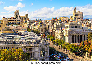 Madrid cityscape and aerial view of of Gran Via shopping...