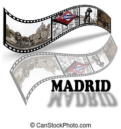 Collage with pictures about Madrid, Spain in film style.