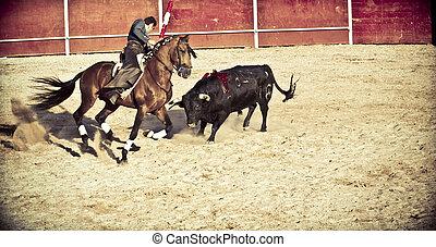 madrid, españa, -, septiembre, 10:, torero, en, a caballo, bullfight., septiembre, 10, 2010, en, madrid, (spain)