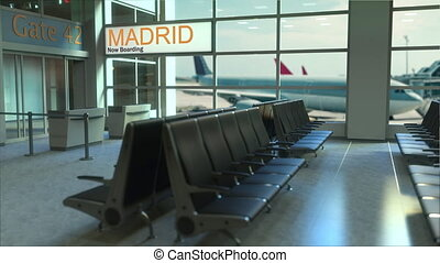 Madrid flight boarding now in the airport terminal. Travelling to Spain conceptual intro animation