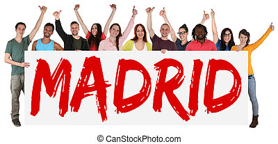 Madrid group of young multi ethnic people holding banner