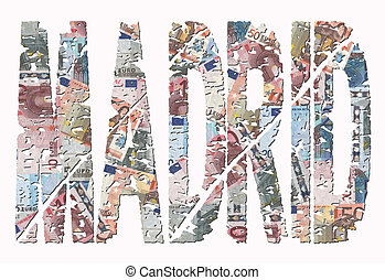 Madrid grunge text with Euros