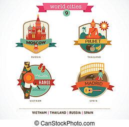 madrid, hanoi, etichette, -, mosca, mondo, città, phuket