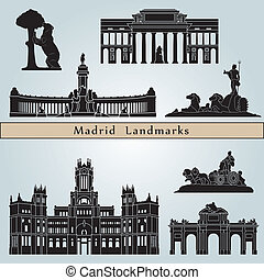 Madrid landmarks and monuments isolated on blue background ...