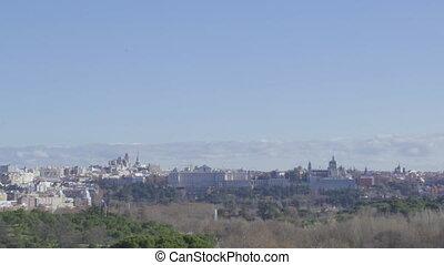 Madrid panoramic city skyline with Cathedral de la Almudena ...