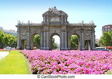 madrid, puerta de alcala, mit, blühen gärten