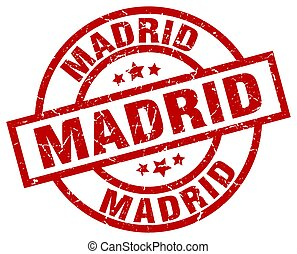Madrid red round grunge stamp