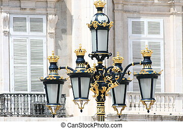 Madrid - Royal Palace lamppost detail. Palacio de Oriente,...
