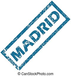Madrid rubber stamp - Blue rubber stamp with city name...