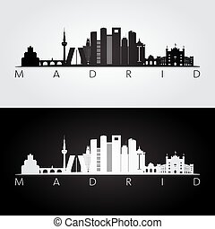 Madrid skyline and landmarks silhouette