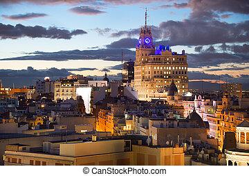 Madrid skyline at dusk. Spain