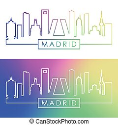 Madrid skyline. Colorful linear style.