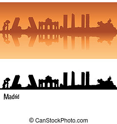 Madrid Skyline in orange background in editable vector file