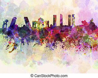 Madrid skyline in watercolor background