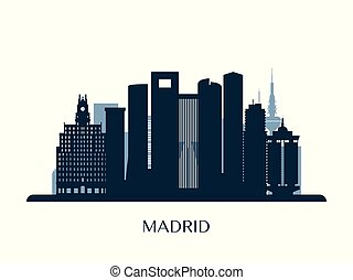 Madrid skyline, monochrome silhouette. Vector illustration.