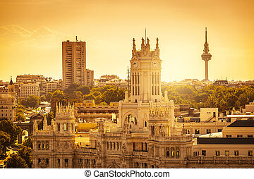 Madrid Skyline with Palacio de Comunicaciones and Alcala...