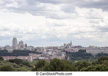 Madrid skyline with a dramtic sky