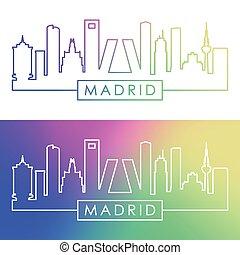 madrid, skyline., style., colorito, lineare