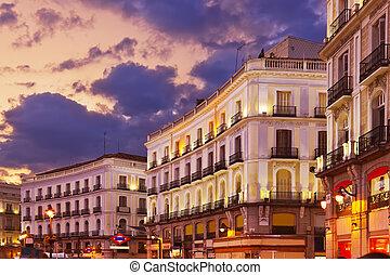 madrid, sonnenuntergang, spanien