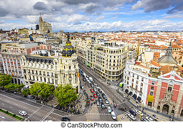 Madrid, Spain Cityscape - Madrid, Spain cityscape above Gran...