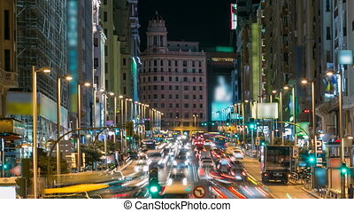 Madrid, Spain cityscape with traffic on Gran Via at night timelapse. 4K