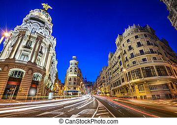 Madrid, Spain Gran Via Cityscape - Madrid, Spain cityscape...