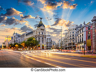 Madrid Spain - Madrid, Spain cityscape at Calle de Alcala ...