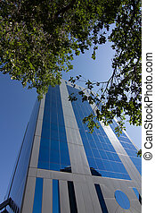 MADRID, SPAIN OCT 15: Modern building with glass architecture on October 15 2012, In one of the most modern financial areas of Madrid, recently premiered this modern complex of offices for rent.