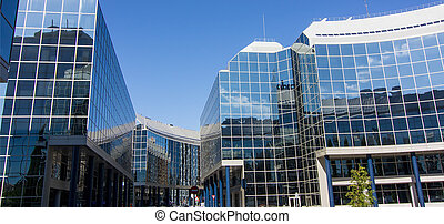 MADRID, SPAIN OCT 15: Modern building with glass architecture on October 15 2012, Water Tower, symbol of the Universal Exhibition in Zaragoza 2008.