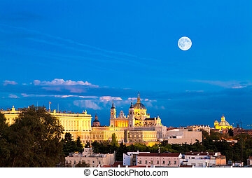 Madrid, Spain - Madrid - evening panorama with the Almudena...