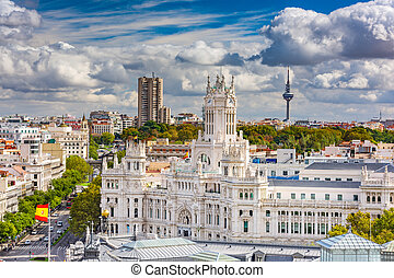 Madrid, Spain cityscape with Communication Palace and Torrespana Tower.