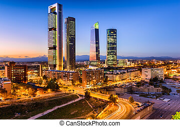 Madrid Spain Skyline - Madrid, Spain financial district...