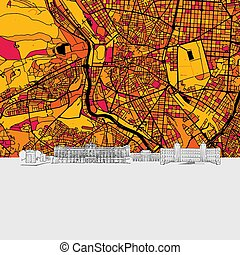 Madrid, Spain, Skyline Map