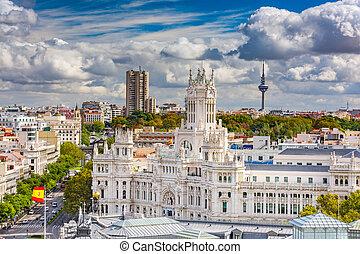 Madrid Spain Skyline - Madrid, Spain cityscape with...