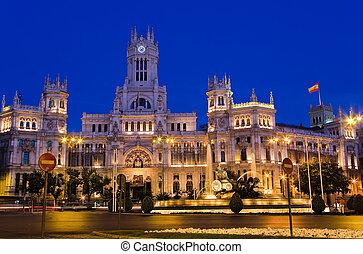 Madrid - Plaza de Cibeles at night, Madrid, Spain