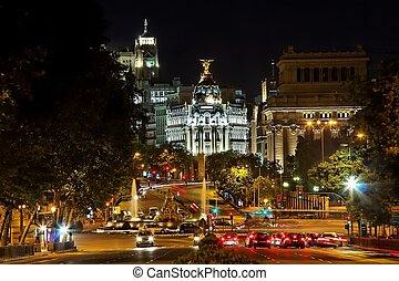 Madrid - Nightview of Plaza de Cibeles in Madrid, Spain