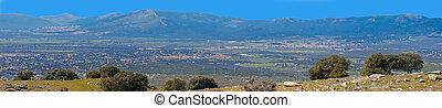 madryt, guadarrama, od, panoramiczny, sierra, hiszpania